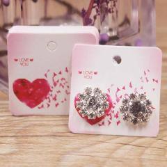 50pcs flower pattern stud jewelry earring display paper package card DIY handmade/marble heart elegant stud earring card