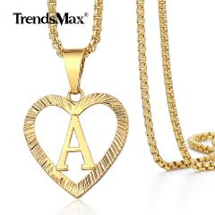 A-Z Initial Letter Pendant Necklace Gold Alphabet Charm Heart Chain Box Link Gold Stainless Steel for Women Girl Gift GP372