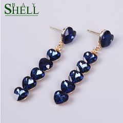Shell Bay New Fashion Heart Crystal Earrings For Women's Rhinestone Handmade Dangle Earrings Black Resin Sweet Earings For Girl