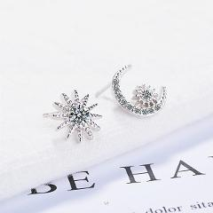 XIYANIKE 925 Silver Exaggeration Stars Half A Month Rhinestone Earrings For Women Multi-storey Woman Tassels Long Dangle Jewelry