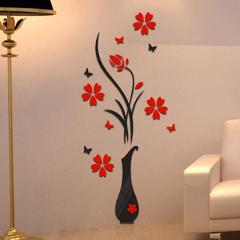 2018 DIY Vase Flower Tree 3D Wall Stickers Decal Home Decor Adesivo De Parede Wallpapers For Livingrooms Kitchen Decorations