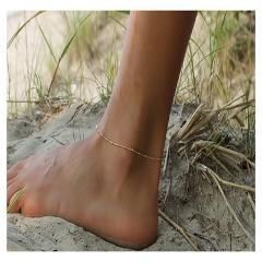 New fashion gold Silver color beaded chain bracelet anklet on the leg of the women delicate satellite Ankle chain girls foot jew