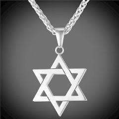 Collare Magen Star Of David Pendant Israel Chain Necklace Women Stainless Steel Judaica Gold/Black Color Jewish Men Jewelry P813