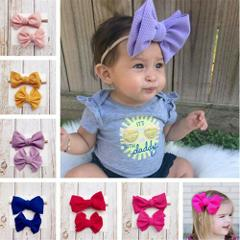 9 Colors Styles Hair Pin Lovely Baby Toddler Girls Kids Flower Bow Headband Fashion Solid Cotton Blend Hair Band Headwrap 0-2Y