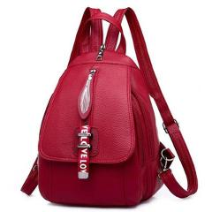 Fashion Small Fresh And Elegant Backpack Simple Backpack Pu Leather Pure Zip Shoulder Bag