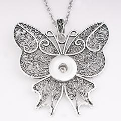 NF5931   cross flower  butterfly 18mm snap button Sweater chain  80cm stainless steel  necklaces & pendants  DIY Jewelry