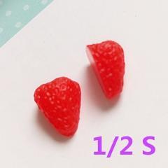 Tanduzi 20PCS 1/2 Mini PVC Simulation Strawberry Slice Plastic Japanese Deco Parts Decoden Cute Fake Strawberry