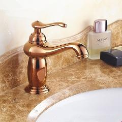 Free shipping solid copper Luxury Europe style antique gold bathroom basin faucet single handle cold and hot water mixer S112