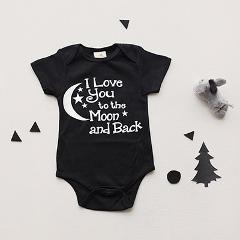 Baby Bodysuit Boys Girls Clothing I Love You To The Moon And Back Black Newborn Baby Playsuits Clothes Bodysuits 0-24 M