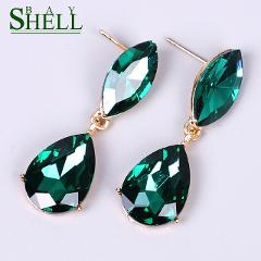 Fashion green Square luxury crystal Dangle Earrings Women Jewelry girl white Elegant Rhinestone Earring Wedding Jewelry Bijoux