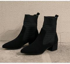 Black Pink Woman Boots Ankle Short Boots Flock Pointed Toe Square Heels Winter Booties Woman 2019 Slip On Women Martin Boots