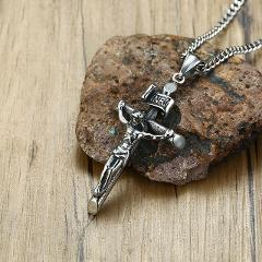 Vantage Mens Crucifix Necklace Ancient Silver Stainless Steel Italian Chain Male Charm Cross Pendant Jewelry