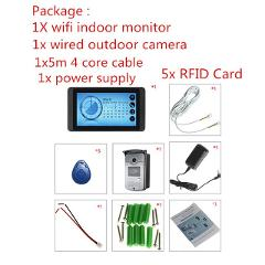 "IP wifi video intercom doorbell system Smart video doorphone wireless 7"" touch screen HD wired video door phone camera RFID"