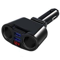 DC 5V 3.1A Dual USB Charger 2-Way Car Cigarette Lighter Socket Splitter Adapter For 12-24V Car SUV Off-Road Vehicle And Minivan