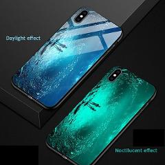 Luxury Starry Tempered Glass Luminous Case Funda For iPhone 7 8 Plus 6 6s Xs Max Xr Cover Glass Back cover For iPhone 5 5S Cases