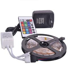 RGB led strip light 5M 10M 2835 SMD non waterproof led light IP20 IP65 Flexible LED Strip adapter 24keys remote rgb full set