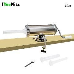 3lbs/1.35L DropShipping Hand Operated Sausage Meat Stuffer Homemade Manual Aluminum Sausage Filler Machine Meat Grinder