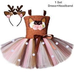 Flower Deer Tutu Dress Tulle Baby Girls Christmas Birthday Party Dress Kids Halloween Reindeer Elk Cosplay Costume with Headband