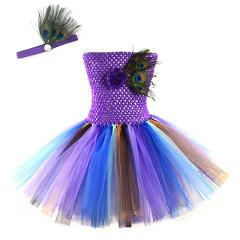 Girls Peacock Feather Tutu Dress Outfit Toddler Photo Props Baby Birthday Party Purple Costume Kids Halloween Animal Clothes
