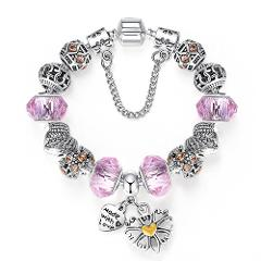 ELESHE Fashion Silver Color Heart Charms Bracelet Bangle for Women DIY 925 Crystal Beads Fit Original Bracelets Women Jewelry