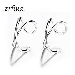 Fashion No Pierced Ear Clip Cross C Shape Clip On Earrings Ear Cuff Women Earrings 925 Sterling Silver Jewelry Ear Wrap Earcuff