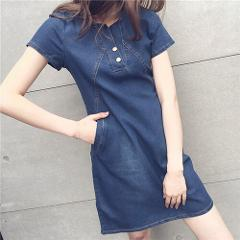 Voobuyla Women Denim Dress 2018 New Summer Casual Jeans Dresses With Button Plus Size S-5XL Short Sleeve Denim Dress Vestidos