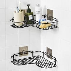 2 Pcs Bathroom Shelf Punch-Free Bathroom Corner Rack Shelves Shower Storage Rack Wall Mounted Corner Basket Shampoo Shelf