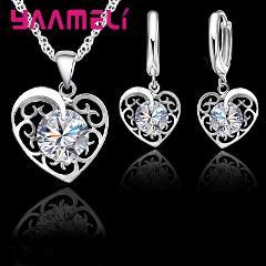 Ingenious Novel Love Heart Shape Pendant Necklace Earrings 925 Sterling Silver Jewelry Set Australian Crystal For Female