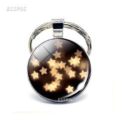 Little Stars Little Heart Picture Glass Cabochon Keychain Silver Plated Metal Keychain Valentines Day Gift for Girlfriend Wife