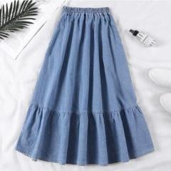 Summer Saia Female A-Line Long Denim Skirt Pockets Women High Waist Midi Jeans Skirts Dark Blue,Light Blue Plus Size Skirt