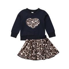 Toddler Kids Baby Girl Leopard Heart Shape Top Sweatshirt Mini Cute Skirt Outfit Clothes Sweet Princess