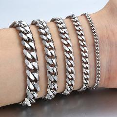 "3-11mm Men's Bracelets Silver Stainless Steel Curb Cuban Link Chain Bracelets For Men Women Wholesale Jewelry Gift 7-10"" KBM03"