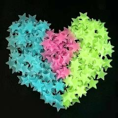 Luminous Stickers Toy 3D Star and Moon Energy Storage Fluorescent Glow In the Dark Toy Wall Stickers for Kids Room Decal