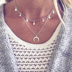 Boho Chain Moon Choker Necklace for Women Coin Chocker colar necklaces pendants gargantilha collier femme colares kolye
