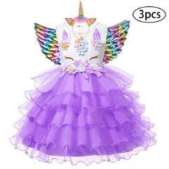 New Girls Dress 3Pcs Kids Dresses For Girl Unicorn Party Dress Easter Carnival Costume Children Princess Dress 3 5 6 8 9 10 Year