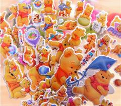 3D Cartoon winnie the pooh stickers Kids Toys Bubble stickers Teacher baby Gift Reward PVC Christmas gift