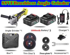 88VF 10000mAh Cordless Brushless Lithium-Ion Angle Grinder Grinding Power Tool Cutting and Grinding Machine Polisher