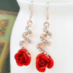 SHUANGR Brand crystal earrings Gold Color Pink Green Black Dangles Earrings women Blue CZ Zircon brincos boucle d'oreille