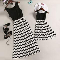 Hot Mother Daughter Matching Dress Family Outfit Summer Women Girl Kids Party Sleeveless Striped Dresses Sundress Clothes