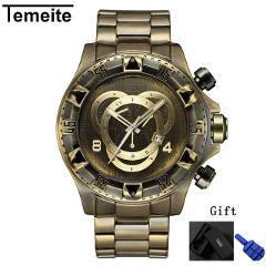 men watch TEMEITE brand mens watch Large dial Retro Bronze man wristwatch quartz waterproof stainless steel men's watches
