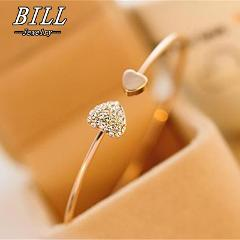 SL043 Charm Bracelet Bangles Bijoux Fashion Love With Heart-Shaped Crystal Bracelet Double Opening Accessories Wholesales