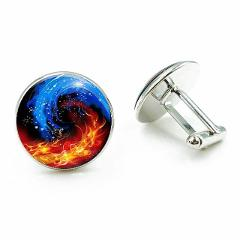 Cool Silver Metal handmade High Quality Bagua Glass Dome Cuff links Gifts for Men