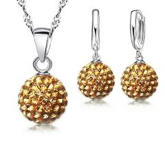 925 Silver Jewelry Sets Rhinstone CZ Crystal Disco Ball Pendant Necklace Earrings For Women Gift Wedding  Accessories