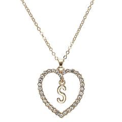 Romantic Love Pendant Necklace For Girls Women Rhinestone Initial Letter Necklace Alphabet Gold Collars Trendy New Charms Kolye