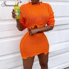 Simenual Knitted Autumn 2019 Fashion 2 Piece Outfits Women Long Sleeve Casual Matching Sets Solid Cropped Sweater And Skirt Set
