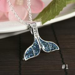 1PCS Silver Filled Blue Opal Sea Turtle Cutout Pendant Women Necklace Beach Gift