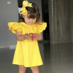 Summer Infant Baby Girls Fly Sleeve Solid Bow Dress Clothes Dresses