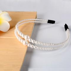Big Pearl Headband for Women Hair Band Girls Large Pearl Hoop Bezel Elegant Lady Hair Accessories Wedding 2019 New