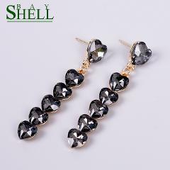 Shell Bay New Fashion Heart Crystal Earrings For Women's Rhinestone Handmade Dangle Earrings Black Resin Sweet Earings For Girl