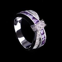 Beautiful pretty fashion Wedding Party White gold color silver color NICE women Purple crystal Lady Ring jewelry LR050